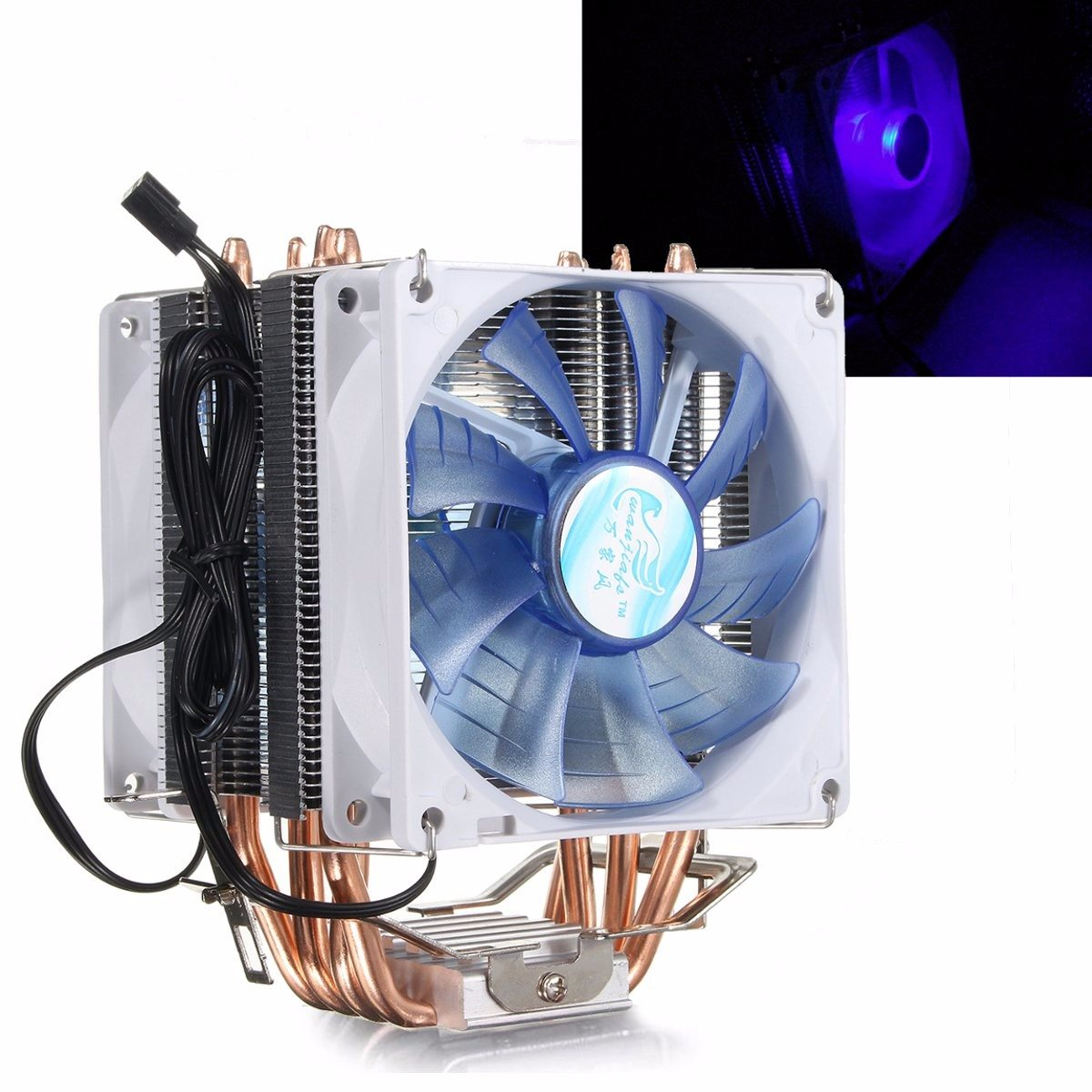 12V Dual CPU Cooler Fan Quiet Blue LED Light 92x92x25mm 3pin Powerful Fan for Intel LGA775