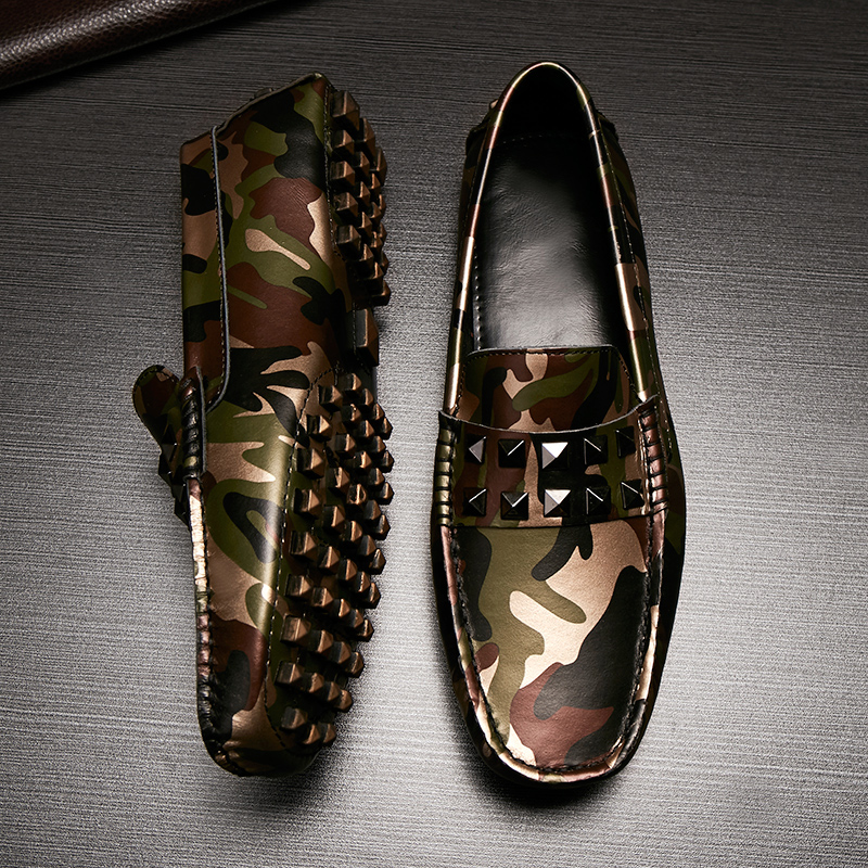 ФОТО 2016 new men's shoe foot lazy shoes doug shoes leather breathable camouflage leather driving shoes genuine loafers flats