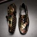 2016 nuevos hombres de zapatos del pie perezoso zapatos de doug zapatos de cuero transpirable camuflaje zapatos de conducción de cuero genuino holgazanes pisos