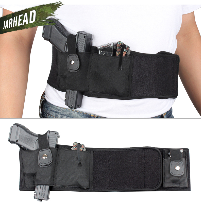 44 inch Tactical Belly Band Holster Concealed Carry Pistol Gun Pouch Waist Bag Invisible Elastic Girdle Belt for Outdoor Hunting-in Holsters from Sports & Entertainment