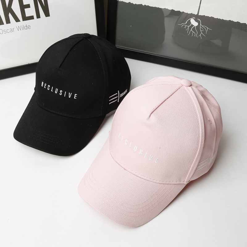 2018 Couple Fashion Cotton Baseball Cap Black Men Women Embroidery Letter Snapback Hat Casquette Pink Casual Peaked Cap Hat Bone