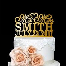 Personalized Mr & Mrs Last Name - Date Custom Wedding Cake Topper Acrylic  Fancy Customized