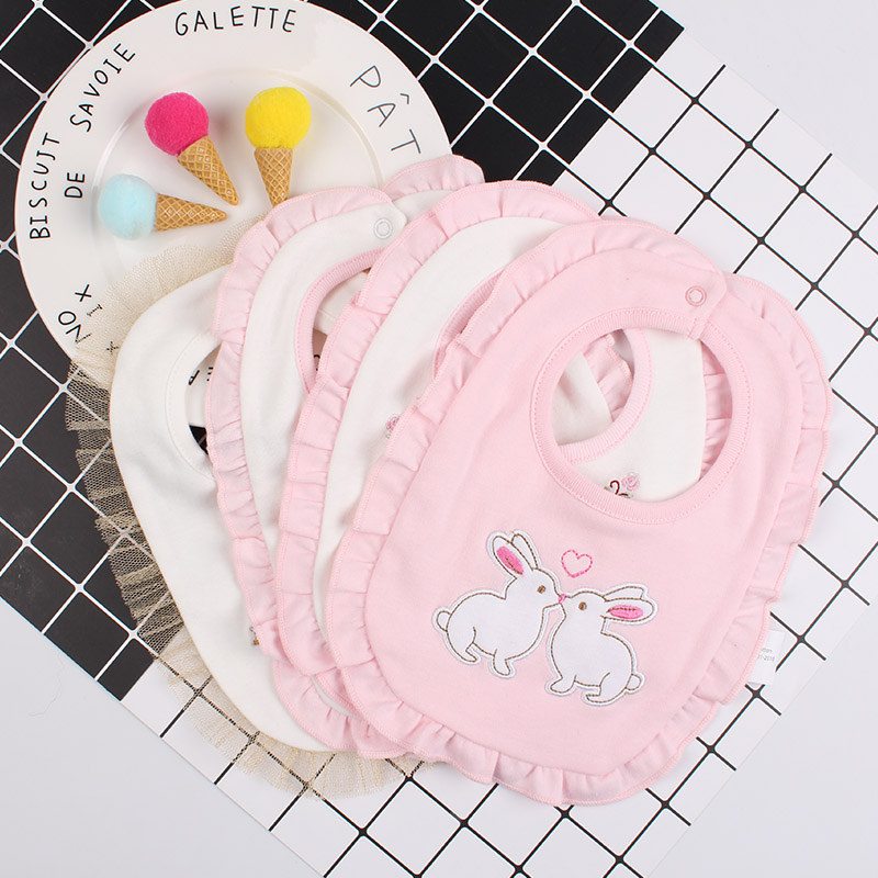1Lace Baby Girl Cotton Bibs Double Layer Absorption Infant Saliva Towel Embroidery Crown Letter Sweet Newborn Girl Burp Cloth