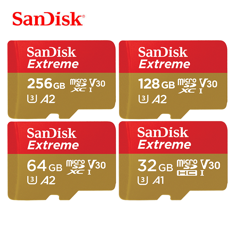 Carte mémoire Flash SanDisk 64 go carte MicroSD extrême 32 go carte mémoire Flash SDHC 128 go carte SDXC 256 go TF UHS-I U3 C10 V30 4K HD cartao de memoria