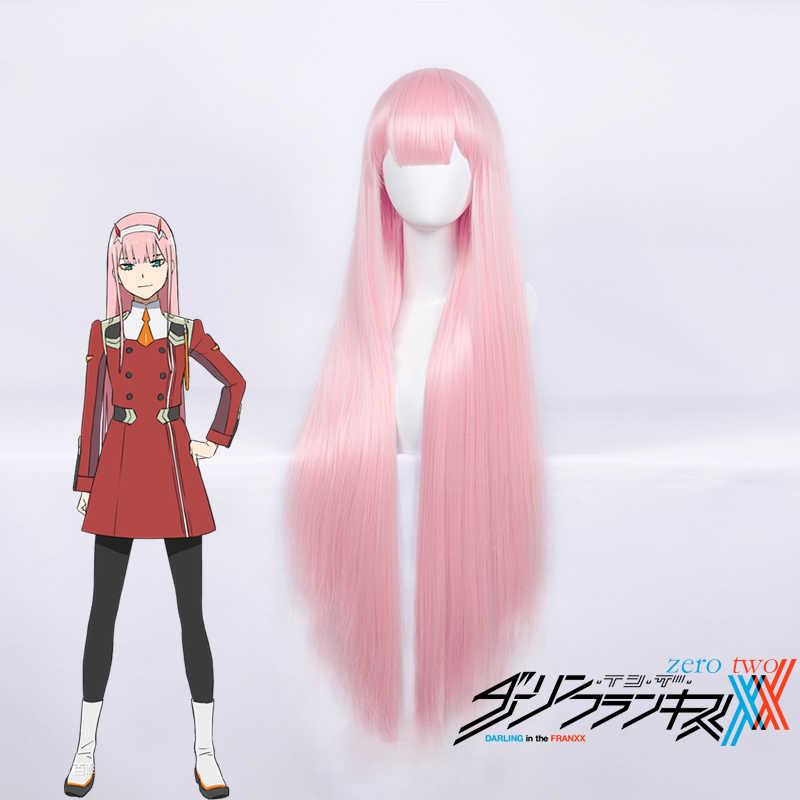Darling In De Franxx 02 Nul Twee Cosplay Pruik voor Vrouwen 100 cm Lange Rechte Hittebestendige Synthetisch Haar Anime Party Roze Dikke