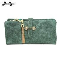Badiya Brand Women Wallet Nubuck Leather Zipper Coin Purse Ladies Vintage Tassel Clutch Credit Card Holder
