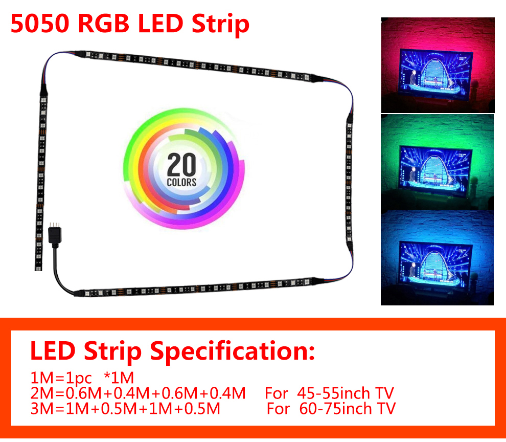 HTB1eZnrLYrpK1RjSZTEq6AWAVXaE USB LED Strip 5050 RGB Flexible LED Light DC5V RGB Color Changeable TV Background Lighting.
