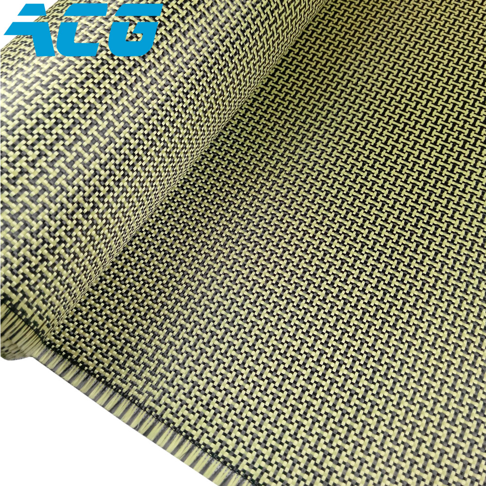 3K 200g Yellow Fabric Made with Kevlar Carbon Fiber Plain Aramid Carbon 30cm 1m