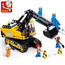 Sluban Retail Project excavator small particles blocks assembled fight inserted toys for children Compatible with legominifigure gudi police to track suspect the culprits educational blocks fight inserted building blocks assembled toys