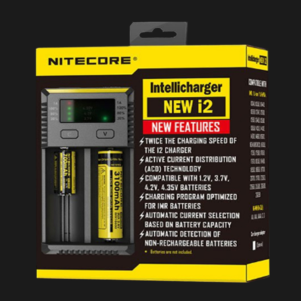 Original Nitecore New i2 Intelli Charger Universal Battery Charger for AA AAA Li-ion 26650 18650 14500 Batteries Charging 18650 li ion battery charging stand in car charger travel charger set black