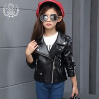 New Long Sleeved Zip Jacket Korean Style Costume For Girls Casual Children S PU Leather Jackets