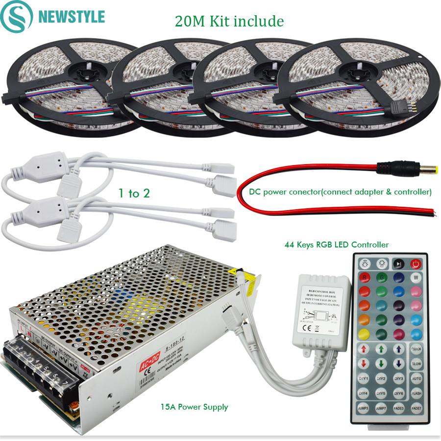 10M 20M DC12V LED Strip SMD 5050 RGB Flexible Light+ IR 44 Keys Remote Controller + 12V 15A Power Supply Transformer 20m rgb led strip 5050 flexible led light 50leds m 4pcs 4 zone controller led remote control 12v 15a power supply kit