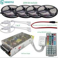 10M 20M DC12V LED Strip SMD 5050 RGB Flexible Light+ IR 44 Keys Remote Controller + 12V 15A Power Supply Transformer