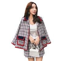 HAMALIEL Vintage Plaid Patchwrok Tweed Woollen Turn Down Collar Loose Flare Sleeve Coat Skirt Suits + Elastic Waist Short Suits