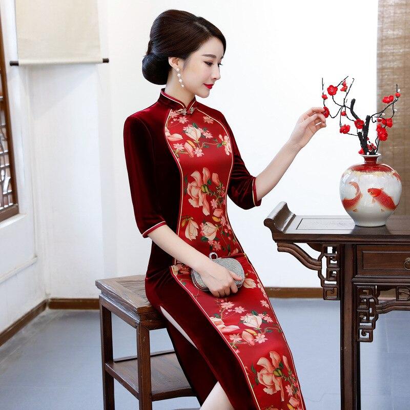 Nouveauté femmes Floral Cheongsam mandarine col Slim Qipao longue robe traditionnelle chinoise pour les femmes taille M L XL XXL 3XL 4XL