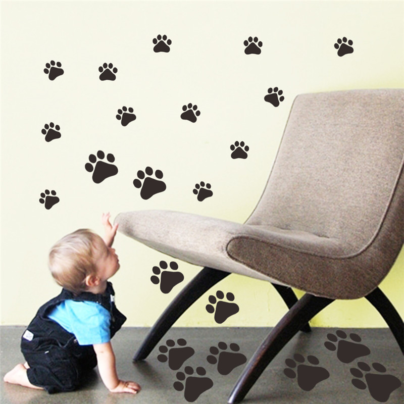 multicolor dog cat paw print wall stickers walking i love dogs paw print wall stickers heart removable diy