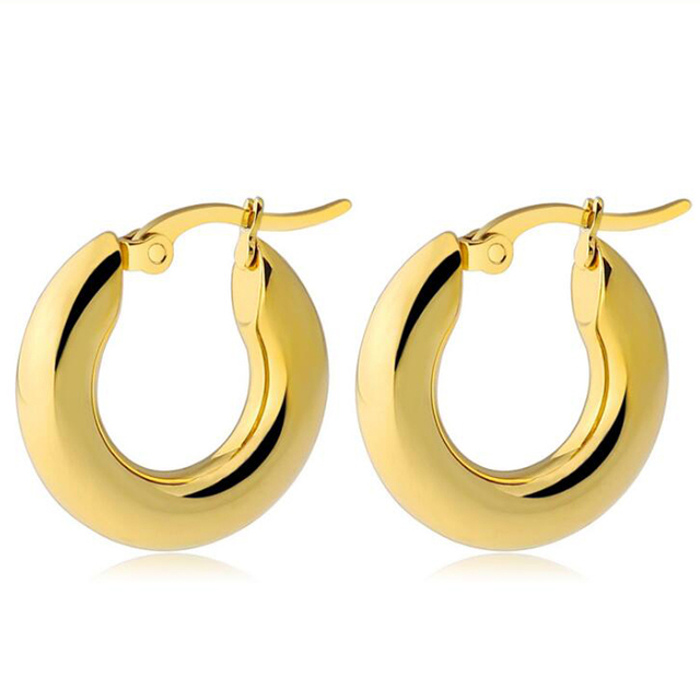 8b1c62bc7 2 pieces Gold Silver 316L Stainless Steel Round 5mm Thickness Hoop Earrings  Korean Cute Small Big Circle Ear Punk Jewelry