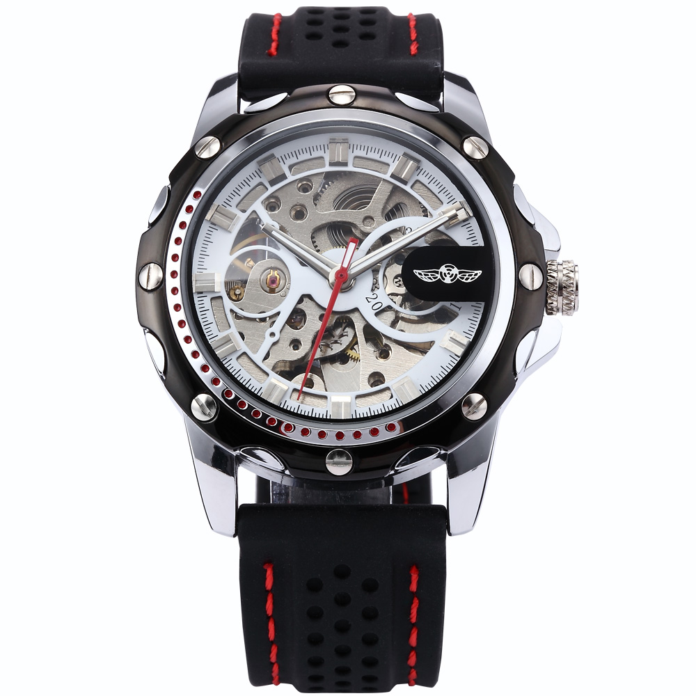 Winner Stainless Steel Silver Analog Skeleton Auto Mechanical Black Rubber Silicone Band Wrist Watches For Men Timepiece /PMW082 winner u8018 men s fashionable split leather band analog mechanical wrist watch black silver