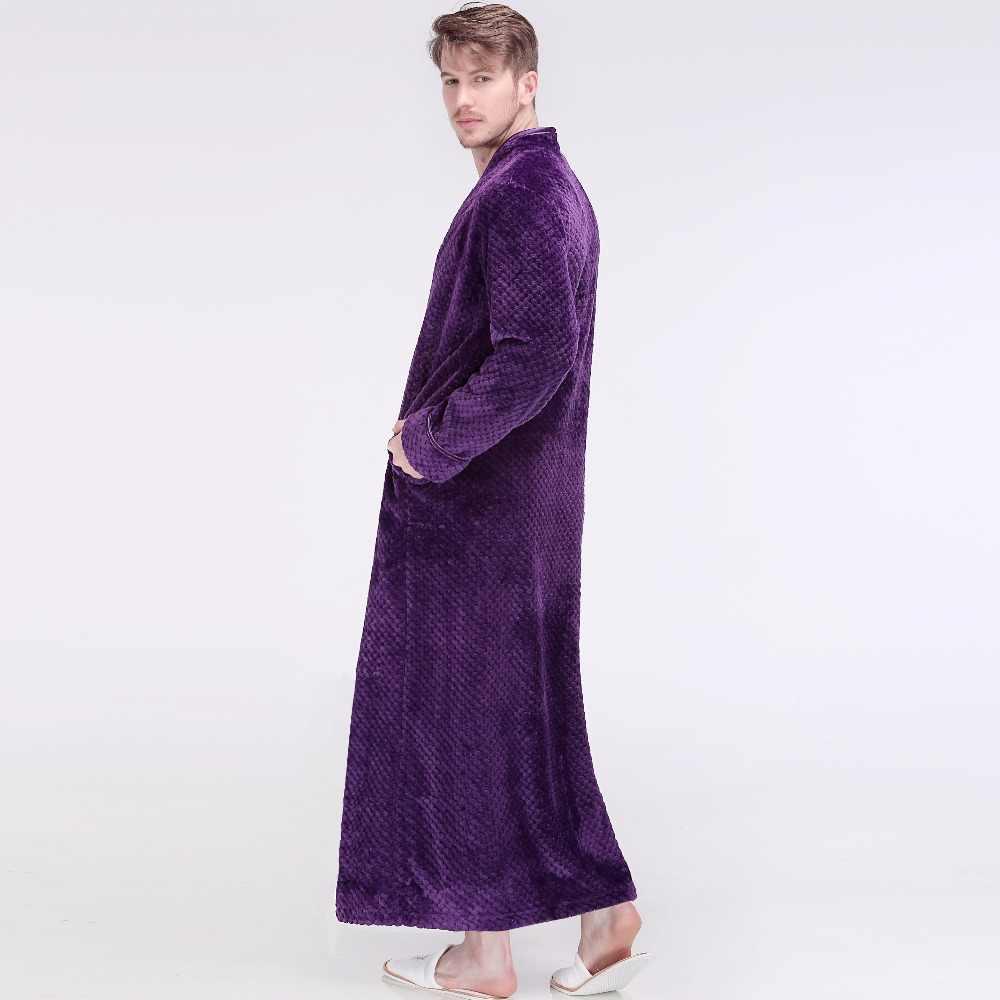 男性の女性の冬ジッパー余分なロング厚みグリッドフランネル温浴ローブプラスサイズソフト熱バスローブドレッシングガウン男性ローブ