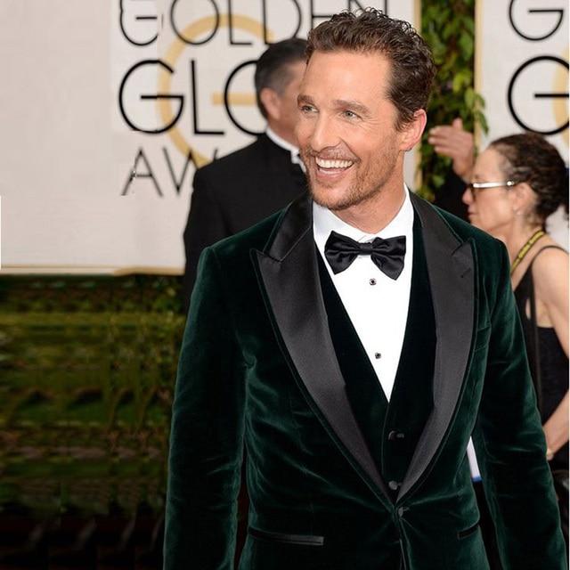 Smoking Costume Homme Green Velvet Blazer Men Suit Wedding Slim Fit