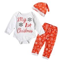цена на 3Pcs Christmas Set Toddler Boutique Newborn Infant Baby Boys Girls Romper Jumpsuit Bodysuit Hat Outfits Baby Cotton Clothes Set