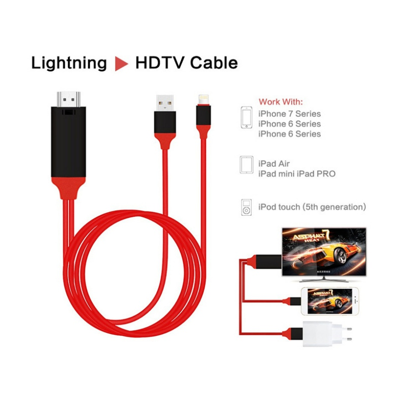 Lightning to HDMI TV AV Adapter 2M Cable For iPad iPhone 5 5S SE 6 7 8 X XS XR