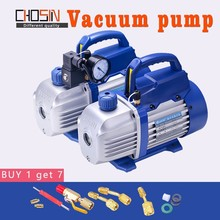150W 220V Rotary Vane Single Stage Mini Vacuum Pump for Air Conditioning With refrigerant table Pressure gauge Refrigerant tube стоимость