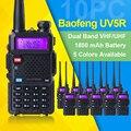 10 unids/lote baofeng uv-5r walkie talkie vhf 136-174 mhz y uhf 400-520 MHz UV5R banda dual de doble pantalla de dos vías de radio Amateur radio
