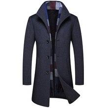 Autumn new mens woolen coat high quality fashion plus cotton thick long section multi-color lapel