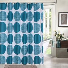 Blue Neat Circle Pattern Bathroom Curtain Waterproof High Quality Fabric Bath Thick Soft Summer Fresh Shower Curtains