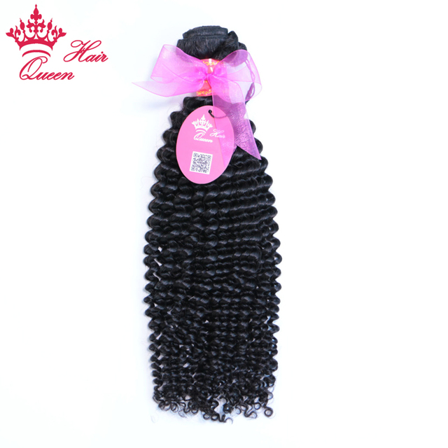 Queen Hair Products Brazilian Human Hair Kinky Curly Weaving Natural Color 1B Remy Hair Bundles 100% Human Hair Weft Can be Dyed
