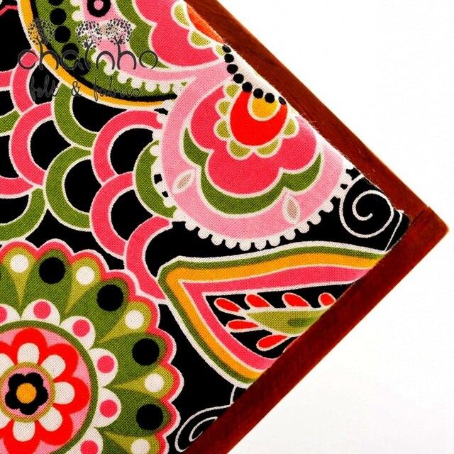 VB Cotton Fabric Telas For Handmade Patchwork Cloth For Skirt Crafts Bag Doll Curtain For Print Black Flower Half Meter 150x50cm