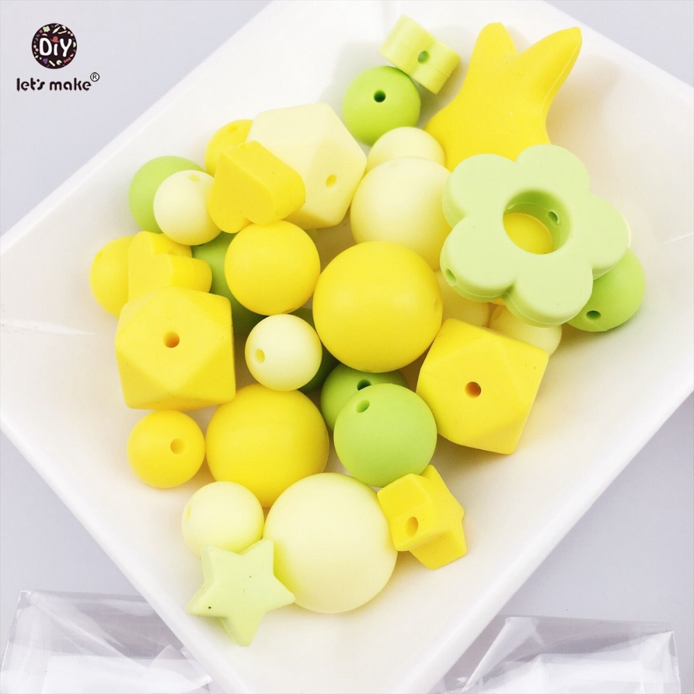 Lets Make Silicone Random Beads 100pc Teething Montessori Toys DIY Crafts Baby Silicone Teether Organic Nursing Necklace