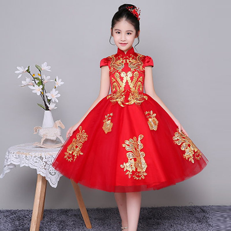 2018 New Chinese Style Children Girls Red Color Embroidery New Year Dress Kids Babies Wedding Birthday Party Ball Gown Dresses ваз 2108 2109 21099