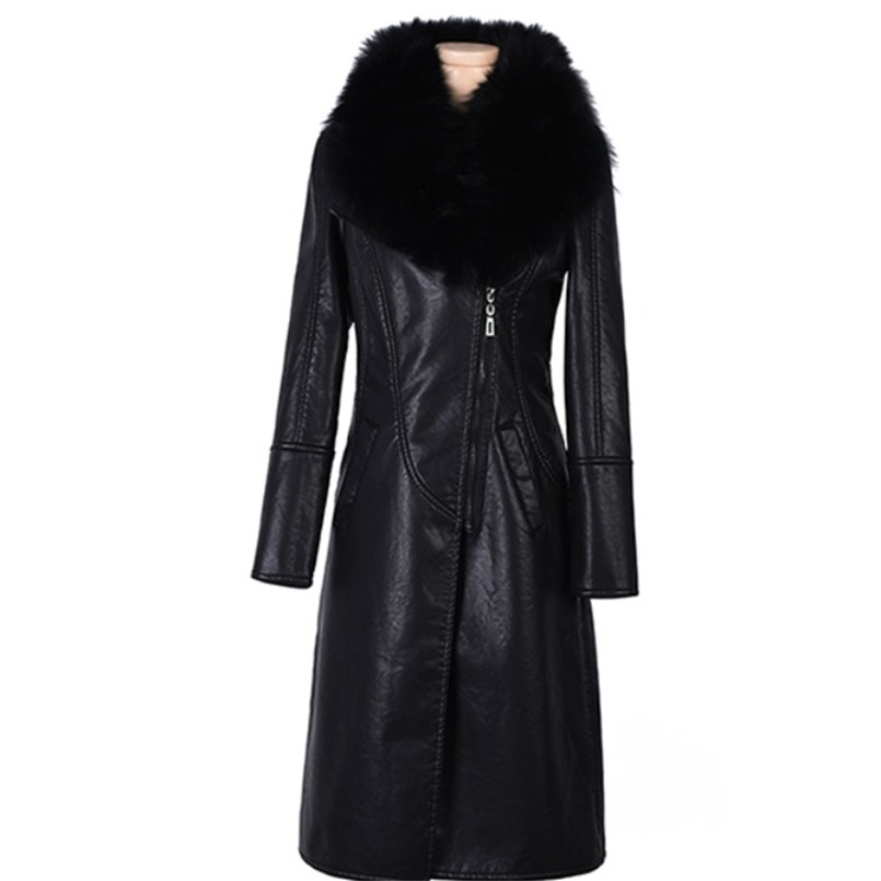 Winter PU   leather   clothing women's plus velvet thickening long section new slim slimming waist large fur collar   leather   jacket