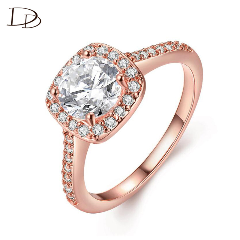 DODO Fashion Rose Gold Color Round AAA Cubic Zircon Rings For Women Elegant Wedding Engagement Square Anel Fine Jewelry DD192