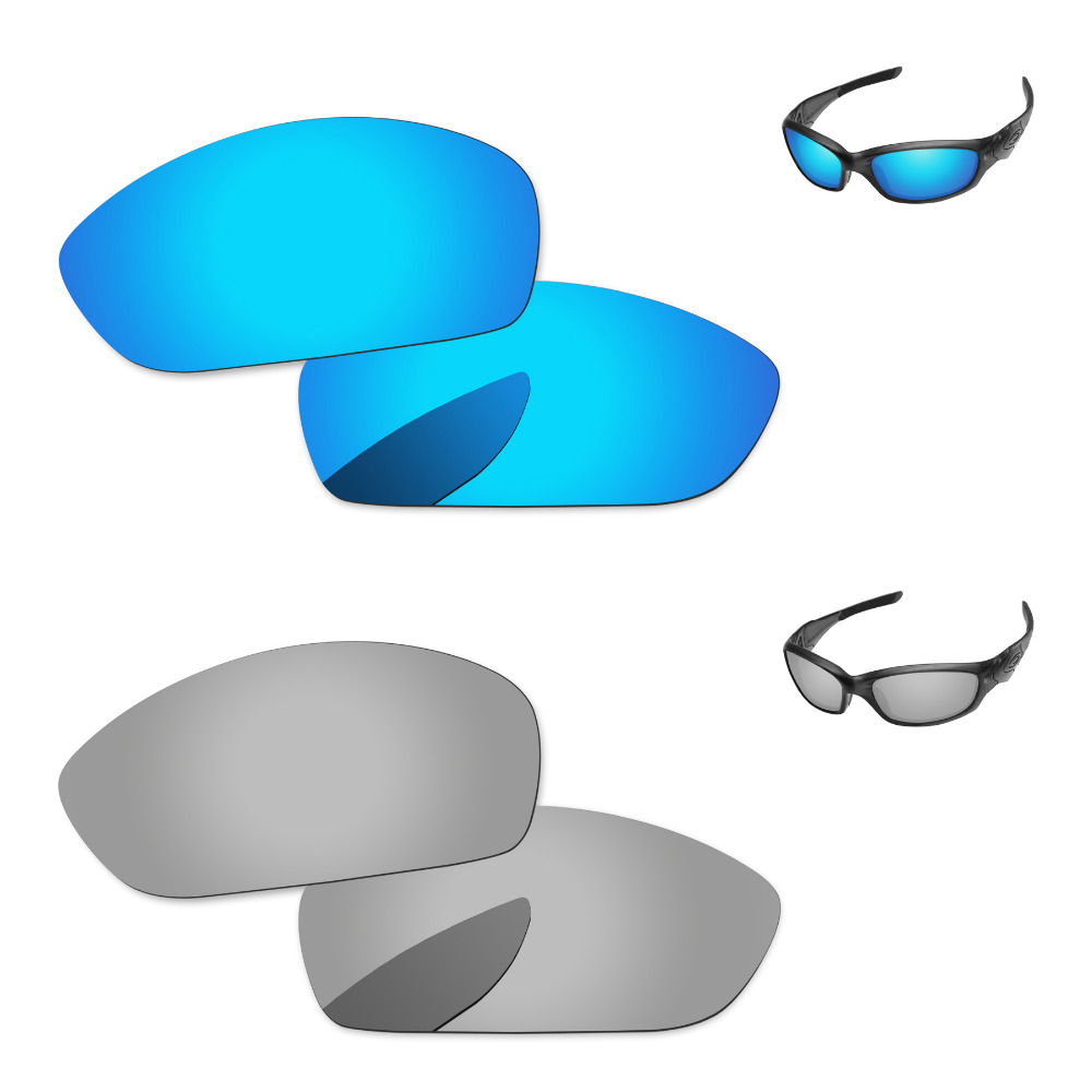 f5f5809a055fc Silver   Blue 2 Pairs Mirror Polarized Replacement Lenses For Straight  Jacket 2007 Sunglasses Frame 100% UVA   UVB Protection