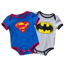 Fashion Superman Batman Baby Boys Rompers Jumpsuit Cotton Outfit Clothe