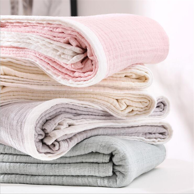 29 Colors 100% Cotton Muslin Bed Cover Home Textile Adult Kids Muslin Bed Blanket Home Sofa Bedspread Throw Blankets For Beds