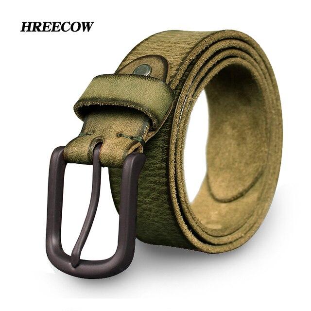Cinturones de cuero genuino de la vaca superior para hombres jeans Do old  oxidado negro hebilla bb39ad9c605d