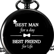 Best man gift Black Pocket Watch wedding favor and