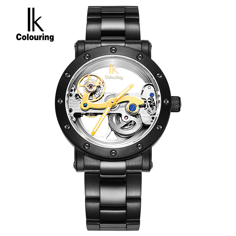 IK Colouring Gold Hollow Automatic Mechanical Watches Men Luxury Brand Leather Strap Casual Vintage Skeleton Watch Clock relogio k colouring women ladies automatic self wind watch hollow skeleton mechanical wristwatch for gift box