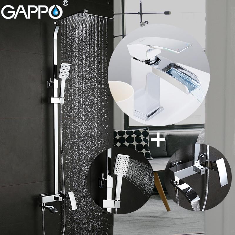 GAPPO Chuveiro conjunto Torneiras chuveiro com torneira da bacia de bronze conjunto de chuveiro do banheiro chrome torneira da banheira misturadores torneira fazer anheiro