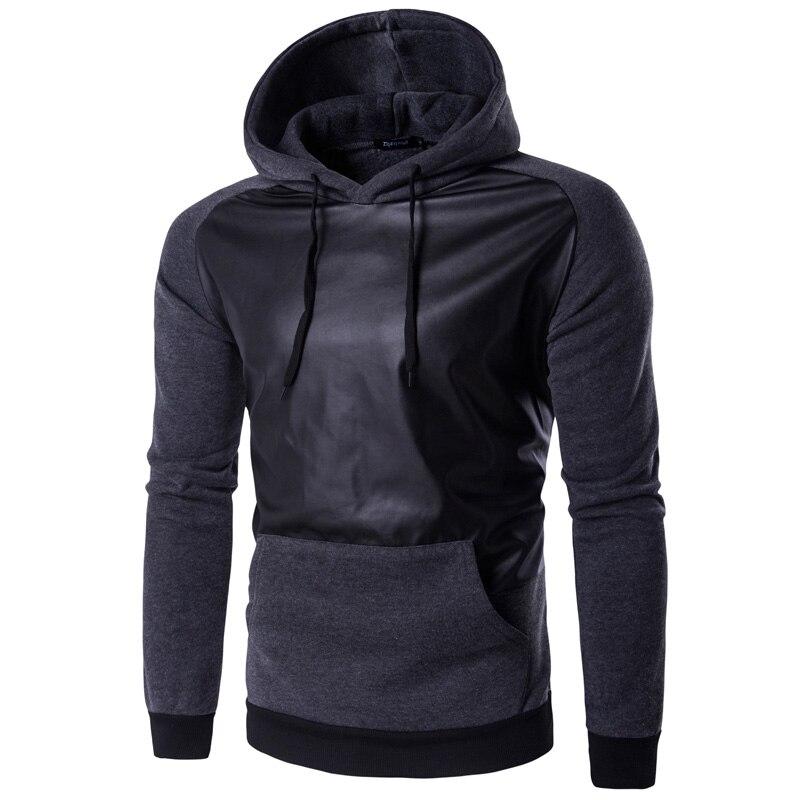 2016 Fashion Men Pullover Hoodies Warm Thicken Fleece Coat Tracksuits Sportswear Leather Patchwork Hooded Sweatshirt XXL