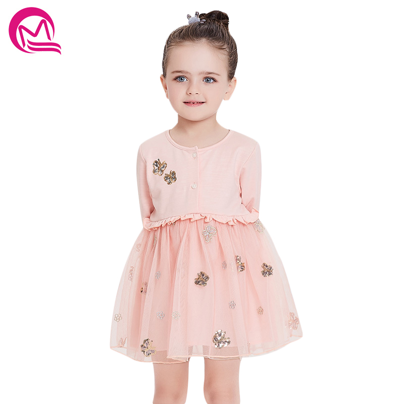 Elegant Girls Dress Long Sleeve Lace Mesh Dresses Girl Party Dress Ball Gowns Kids Dresses For Girls Children Princess Clothing 2016 spring winter children baby kids girls stripe princess lace mesh dress girls fall sleeveless dresses kids dresses for girls