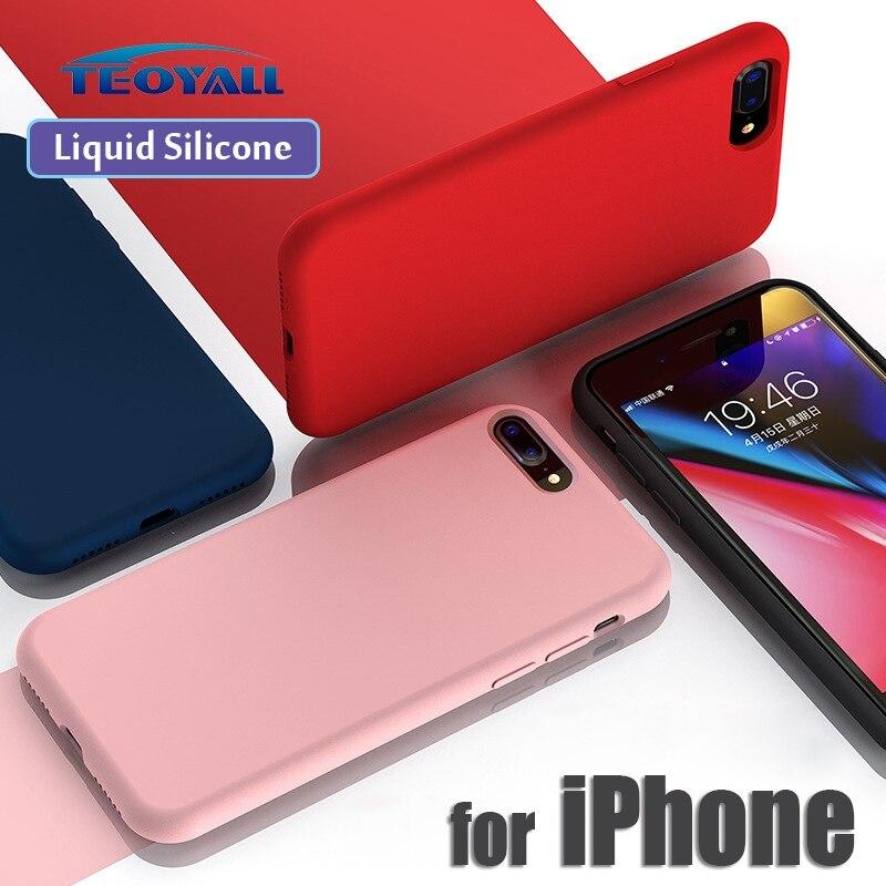 TeoYall жидкий силиконовый чехол для iPhone 7 8 X XS Max XR противоударный защитный 6 6s