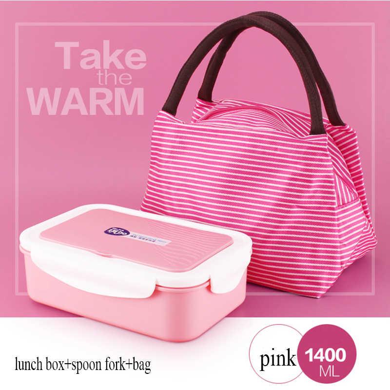 Aquecimento do forno de microondas caixa de almoço estudante retângulo Bento Box caixa de plástico com garfo colher estilo Japonês adulto frete grátis