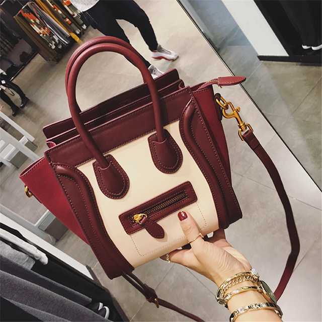Hottest Luxury Famous Brand Women Shoulder Bag Leather Smiley Tote Bags Messenger Bags Feminias Bolsas Smiling Face Handbags Sac by Kaisiman