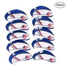10PCS/Set Golf White & Blue US Flag Neoprene Patriot Driver Golf Club Head Cover Wedge Iron Protective Headcover Accessories цены