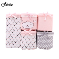 Fainlise 5Pcs Lot Cotton Women S Briefs Low Waist Panties Printed Lovely Underwear For Female Girls
